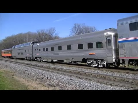 Thumbnail: Amtrak with One Unit and Three PVs Plus BNSF Mixed Freight