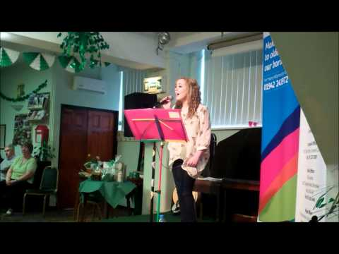 Rebecca Aldred singing at the St.Patricks Day Celebrations at the Brian Boru Club