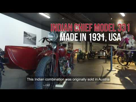 Mark Upham about the Indian Chief Model 331 with the sidecar of Max Porges