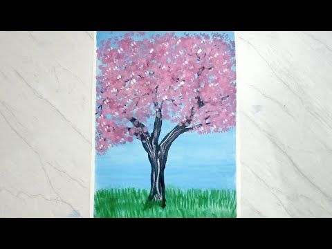 Cherry blossom tree landscape painting with cotton buds | poster colour painting | painting tutorial