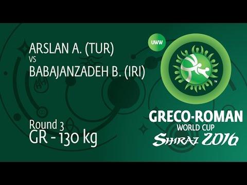 Round 3 GR - 130 kg: B. BABAJANZADEH (IRI) df. A. ARSLAN (TUR) by TF, 8-0