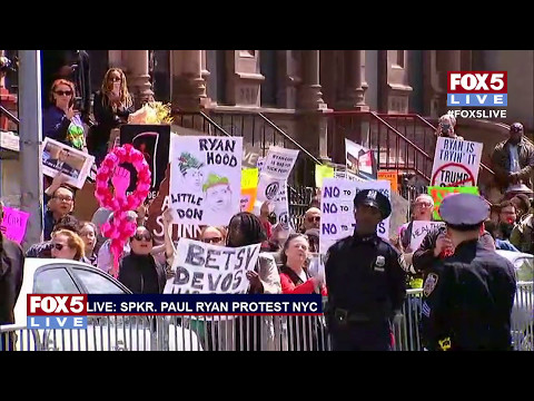 FOX 5 LIVE (5/9): Paul Ryan protest in NYC; DMV public officials on opioid crisis; Obama in Milan