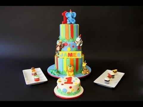 1st Birthday Jungle Themed Cake Mini Cupcakes Youtube