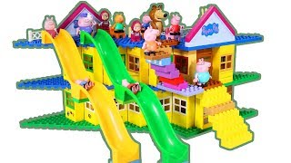 Peppa Pig Blocks Mega House Construction Lego Sets With Water Slide Creative Toys For Kids #7