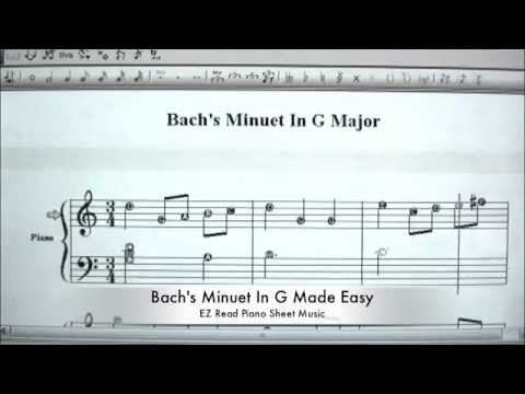 Bach's Minuet In G Made Easy   EZ Read Piano Sheet Music