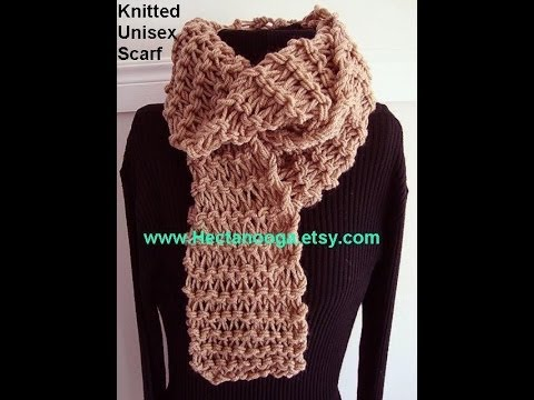How To Knit Diy Unisex Knitted Scarf Beginner Level Pattern For