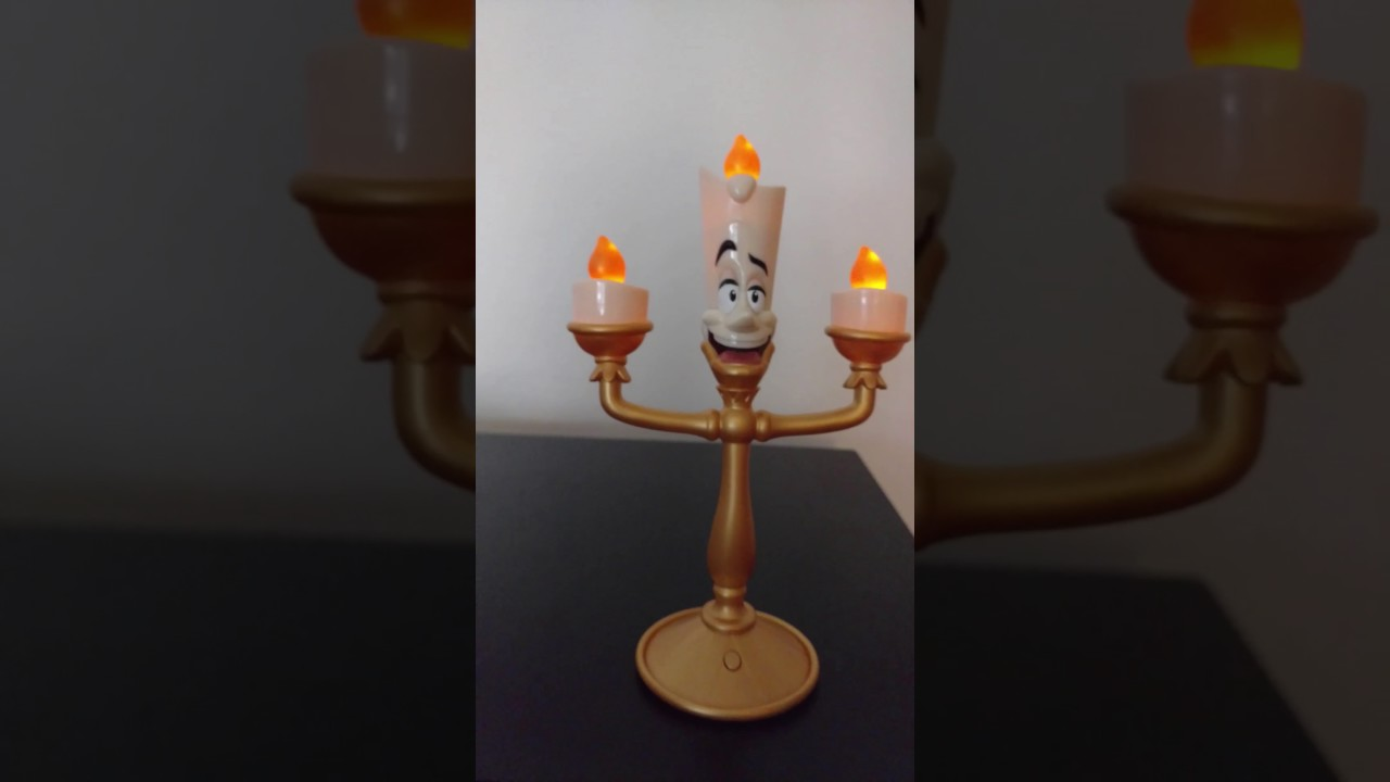 BEAUTY THE BEAST BE OUR GUEST LUMIERE CANDLE STICK ELEECTRONIC LIGHT SHOW TEDDY BEAR KING PLUSH