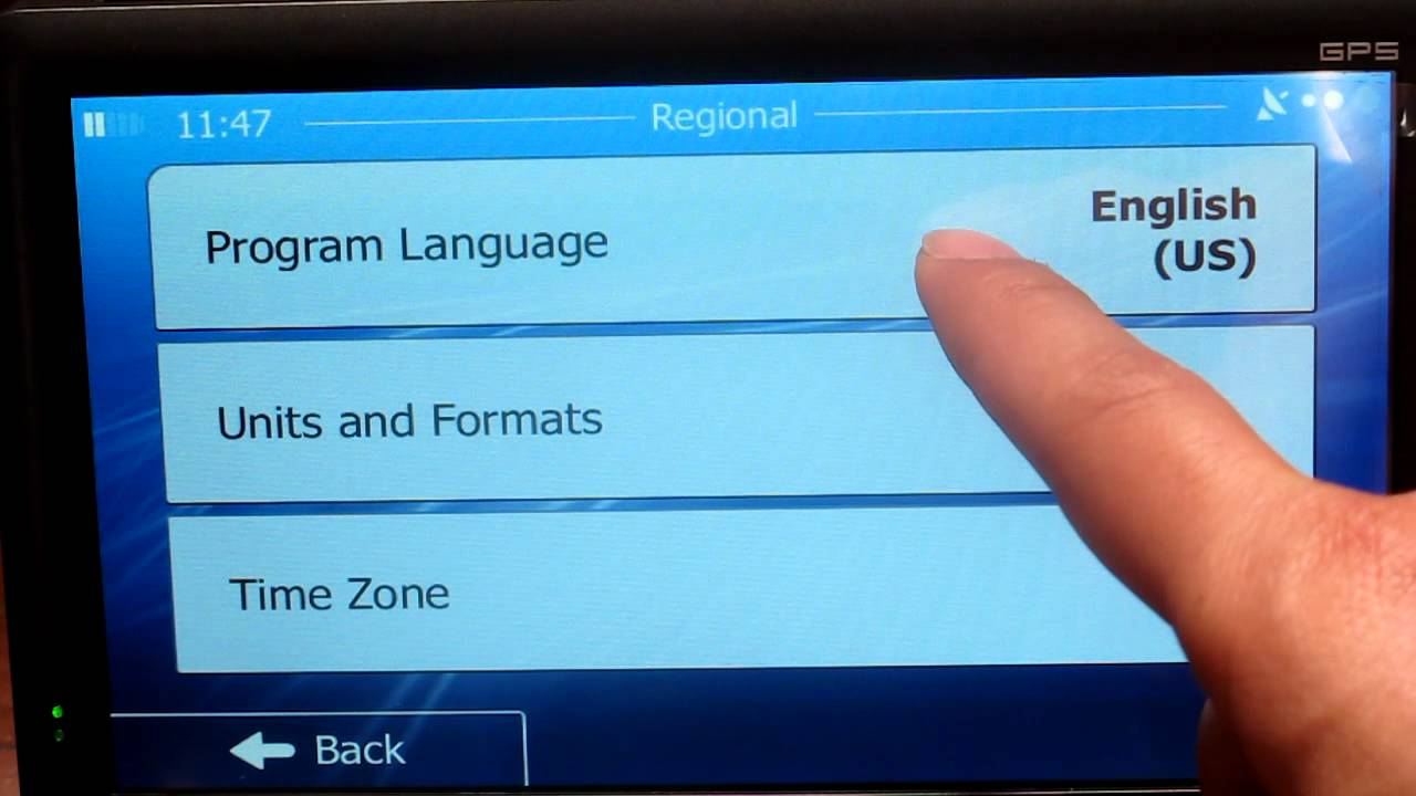 How to change the GPS voice language and program language
