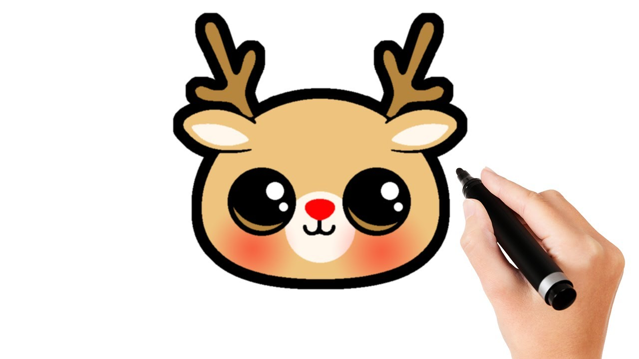 How To Draw A Cute Reindeer Face Draw So Cute Animals Youtube