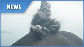 Aerial footage shows explosive Anak Krakatau eruption