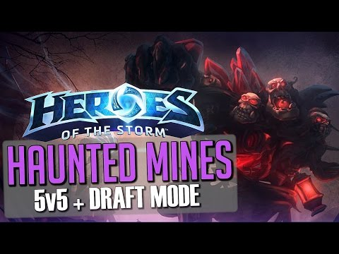 Heroes of the Storm: Haunted Mines Gameplay + Draft (5v5 Custom Game)