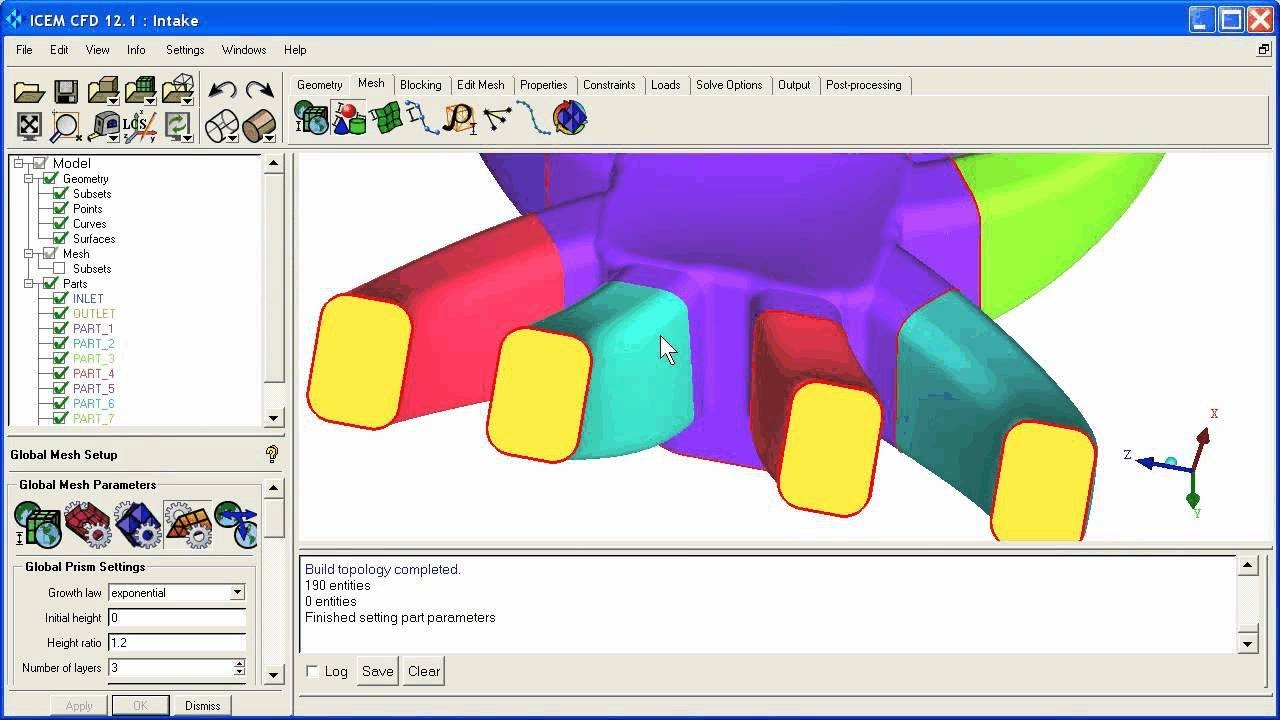 ANSYS 12 1 (part 1 of 2) ICEM CFD setup for Tetra/Prism meshing of a simple  manifold