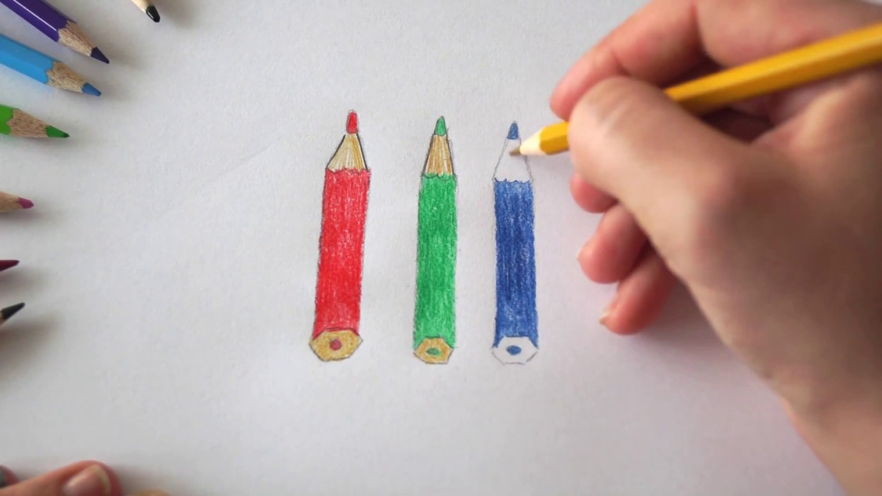 Stifte Zum Ausmalen Bunte Stifte Malen Für Kinder Draw Colored Pencils For Children рисуем цветные карандаши