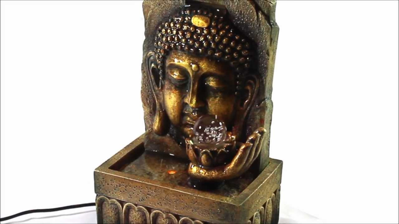 Golden Lucky Buddha Indoor Tabletop Water Fountain With Glass Ball Fountainmania Com Youtube