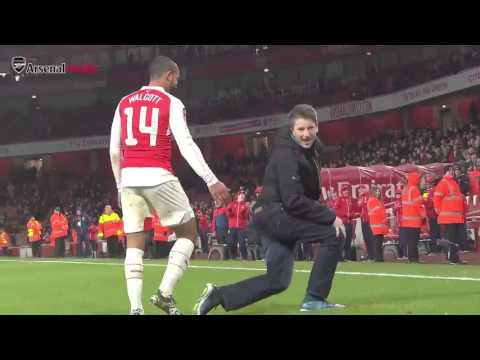 Theo Walcott Funny Celebration with Arsenal fan after   Arsenal vs Sunderland Fa Cup 9 1 2016 HQ