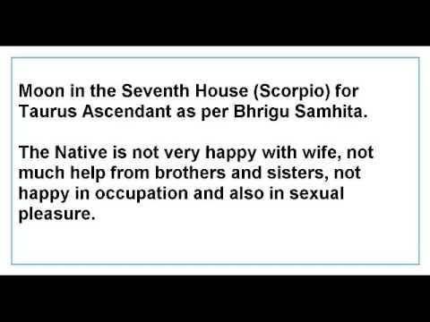 Moon in the Seventh House for Taurus Ascendant as per Bhrigu Samhita