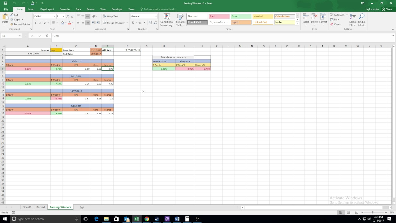 """Tim Skyes inspired """"Earning Winners"""" automated spreadsheet version 2 ..."""