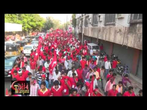 Red Shirt Volunteers March from SVK  To Nizam College Grounds