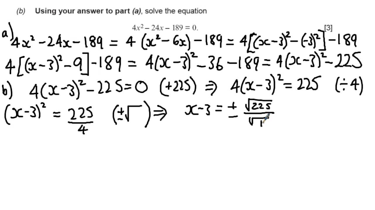 Wjec C1 2015 June Q4 Pleting The Square Solution