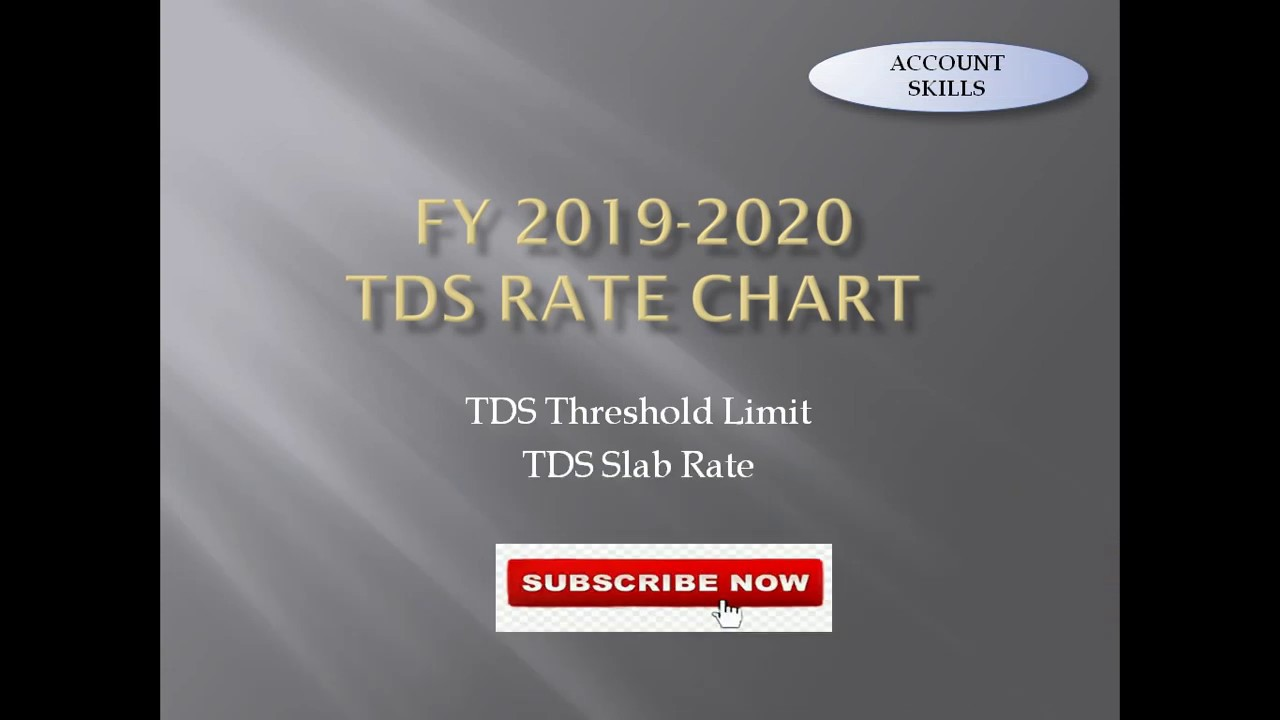Tds Rate Chart F Y 2019 20 Youtube