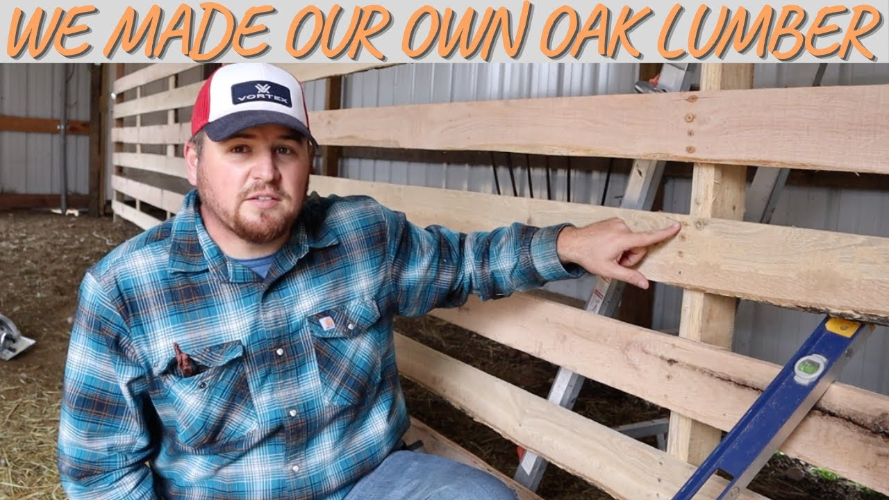 We Made Our Own Lumber From A Dead Oak Tree For This Barn Project!