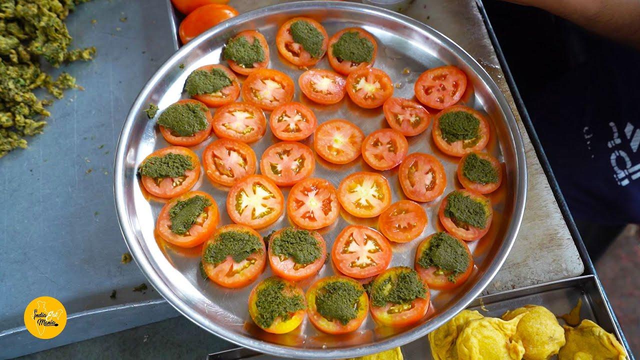 Most Epic Tomato Bhajiya/Pakode of Surat Rs. 20/- Only l Gujarat Street Food