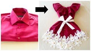 Converta camisas masculinas em um vestido para crianças