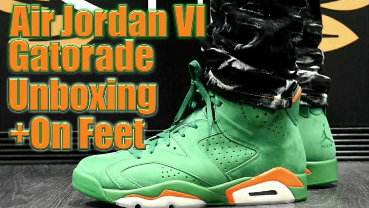 super popular c58f5 13315 AIR JORDAN VI GATORADE UNBOXING AND ON FEET