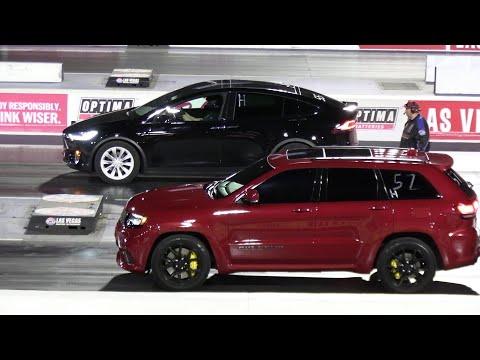 Jeep SRT Vs Tesla Model X - Drag Racing