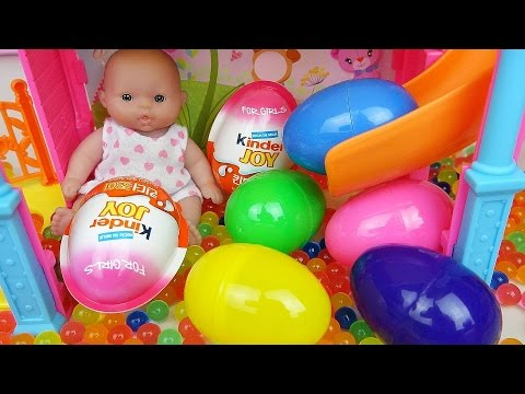 Thumbnail: Baby Doll Slide Surprise eggs and Kinder joy toys