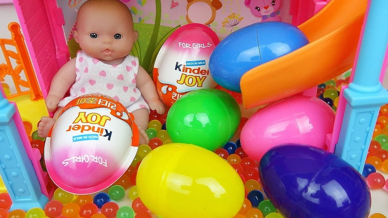Toys For Joy : Baby doll slide surprise eggs and kinder joy toys youtube
