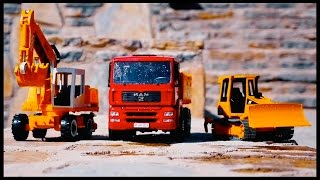 TRUCK TEAM! Toy Construction Trucks for Children. Liebherr Toys & Bruder Toys.Videos for kids!