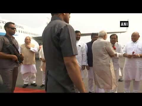 Watch: PM Modi arrives at Patna to attend Champaran Satyagrah Centenary Celebrations