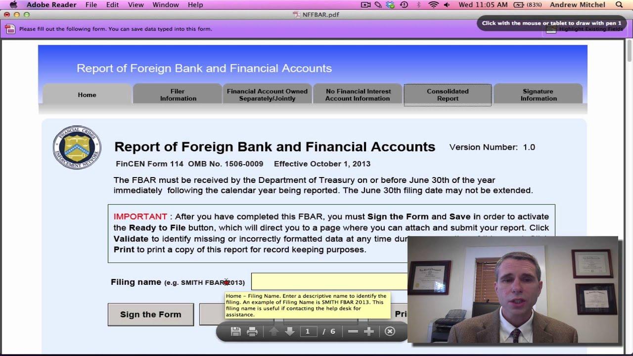 FBAR - FinCEN Form 114 - YouTube