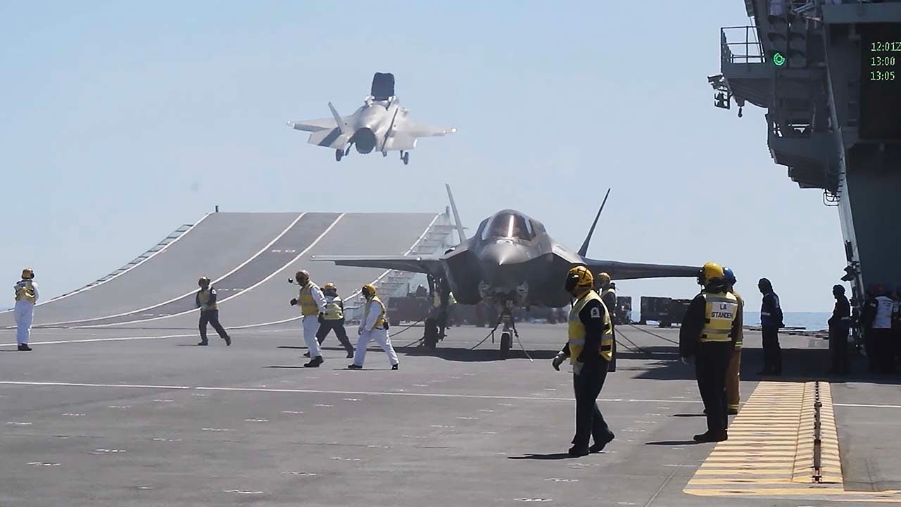 UK F-35 Jets operate from HMS Queen Elizabeth in the North Sea