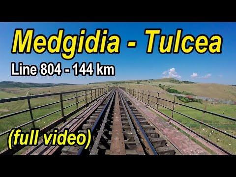 Medgidia-Tulcea,cu trenul pe linia 804-Zugfahrt,full trainride rearview