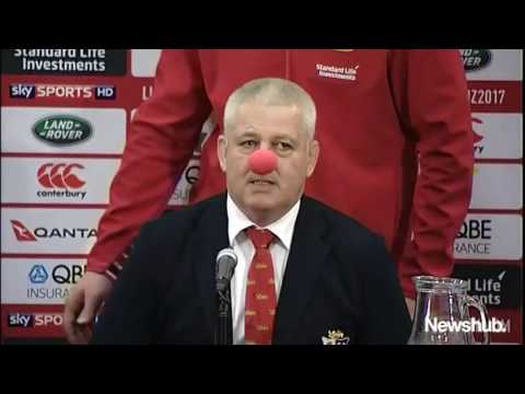 Lions coach Warren Gatland greets media wearing red clown nose | Newshub