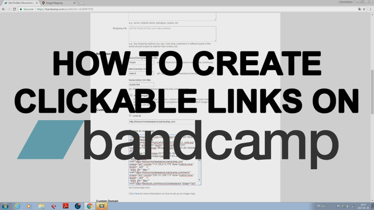 how to create clickable links on your bandcamp header in less than