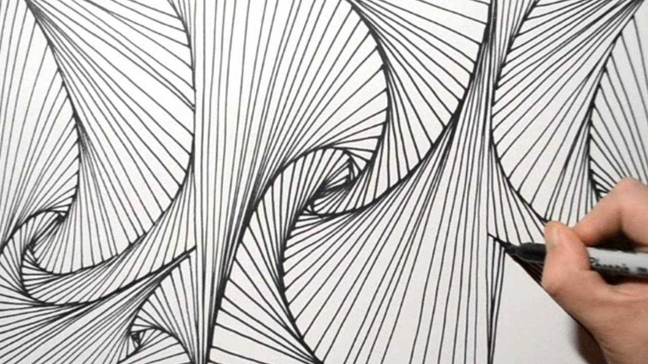 Satisfying 3d Line Illusion Drawing On Paper Daily Art Therapy Day 048 Youtube