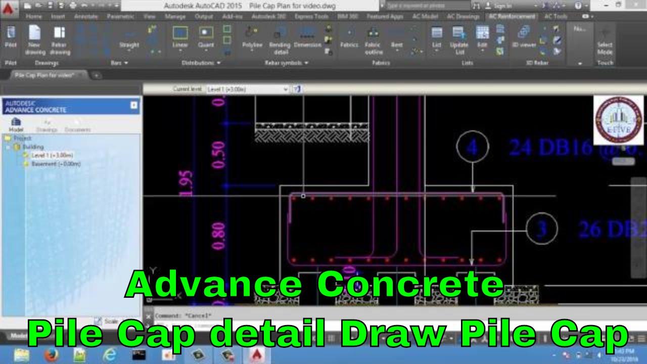 Advance Concrete Pile Cap Detail Draw Pile Cap Youtube