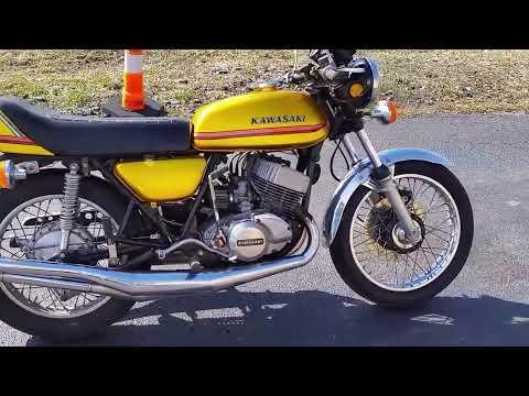 1973 H2 H2A 750 H2A triple 2 stroke sideways burn out - YouTube