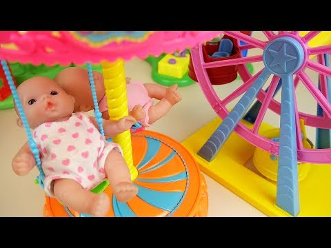 Baby Doli and amusement park toys baby doll house play