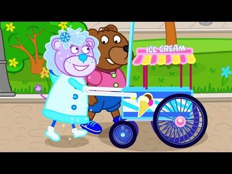 Lion Family Snow Girl Cartoon for Kids