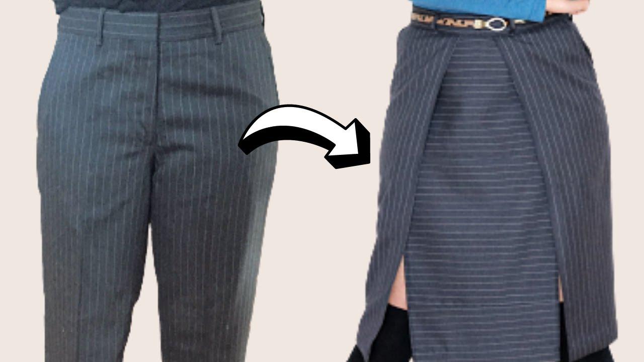 DIY Refashion | Men's Dress Pants turned Double Slit Skirt