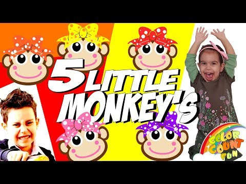 Kids Rhymes  FIVE LITTLE MONKEYS with little AGNES Learn Counting 1-5