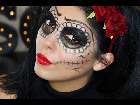 easy half face sugar skull makeup  mugeek vidalondon