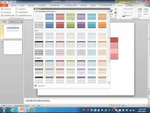 การสร้างตารางและแผนภูมิในโปรแกรมไมโครซอฟต์เพาเวอร์พอยต์ 2010