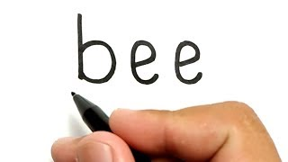 VERY EASY, How to turn words BEE into cartoon for kids / how to draw bee