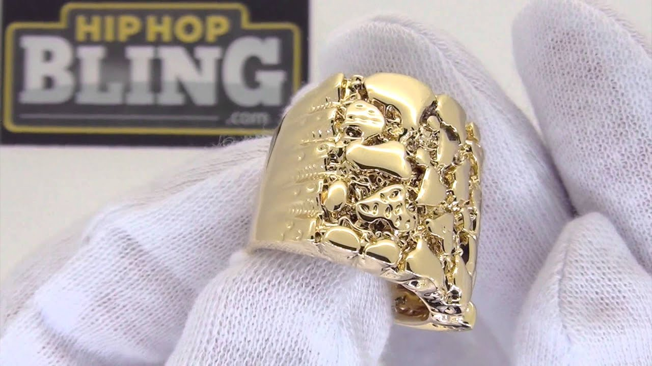 Gold Nugget Mens Ring
