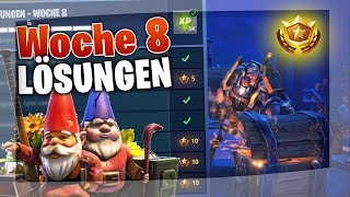 ALL SOLUTIONS for WEEK 8 😲 | Fortnite (Battle Pass Star, Search Between a Bear, Find Dwarves)